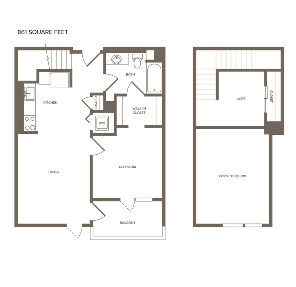 861 square foot one bedroom one bath floor plan
