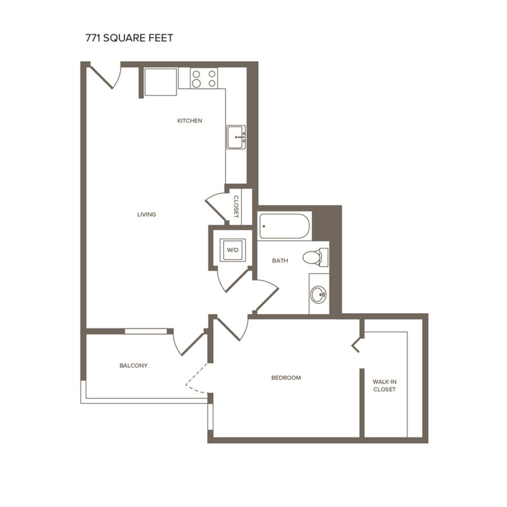 771 square foot one bedroom one bath floor plan