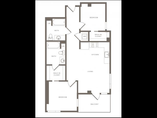 Floorplan image of B05 is 956 SF