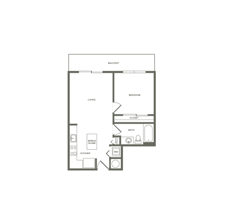 657 square foot one bedroom one bath apartment floorplan image