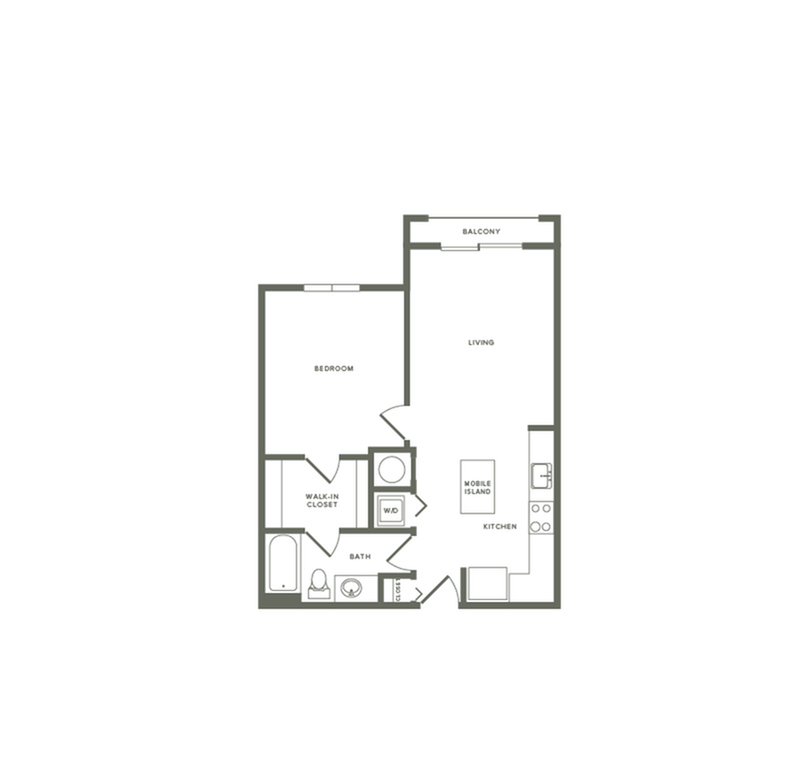 732 square foot one bedroom one bath apartment floorplan image
