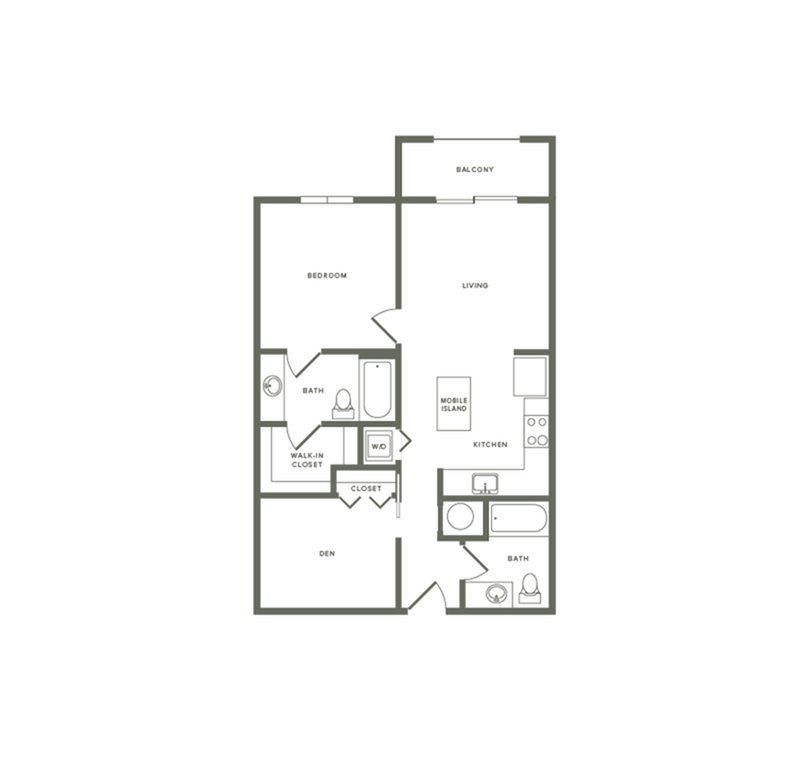 875 square foot one bedroom two bath with den apartment floorplan image