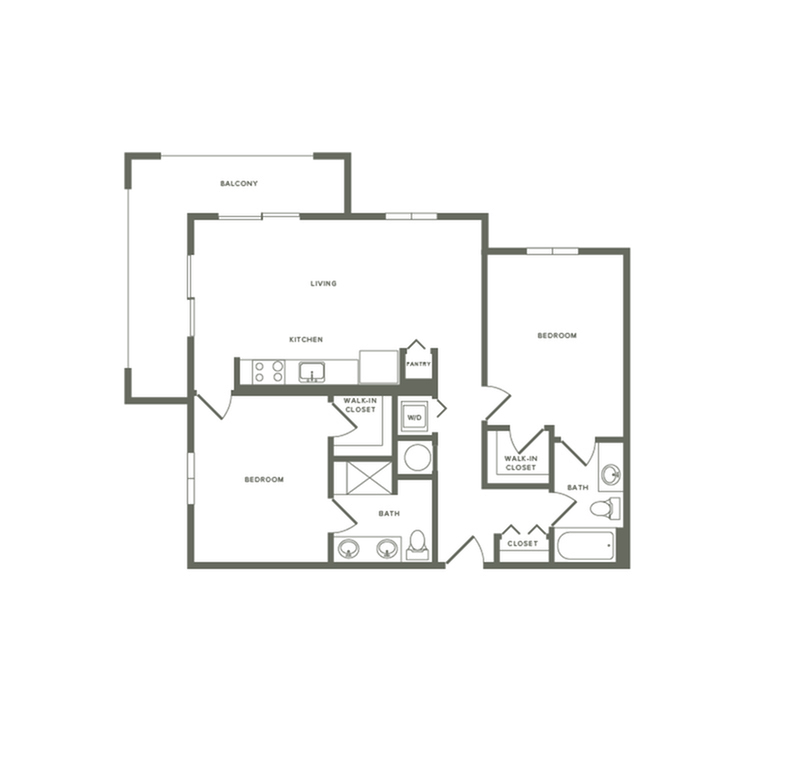 1032 square foot two bedroom two bath galley kitchen apartment floorplan image