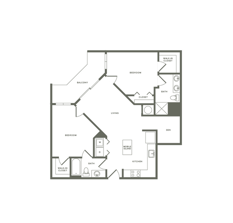 1141 square foot two bedroom two bath with den apartment floorplan image