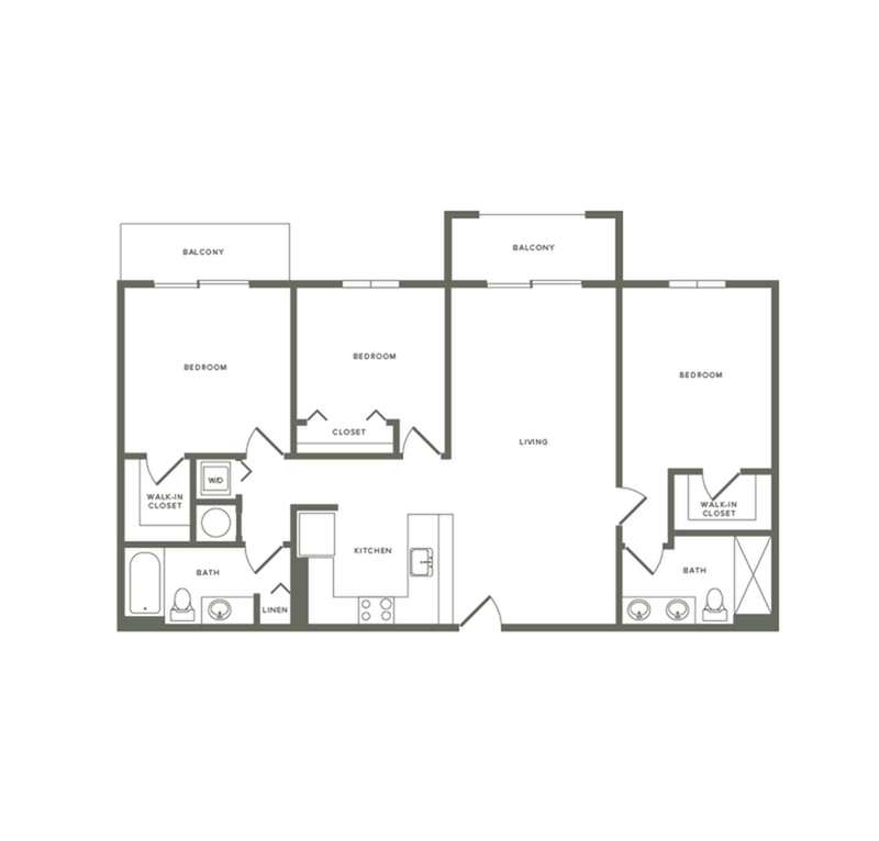 1350 square foot three bedroom two bath two balconies apartment floorplan image