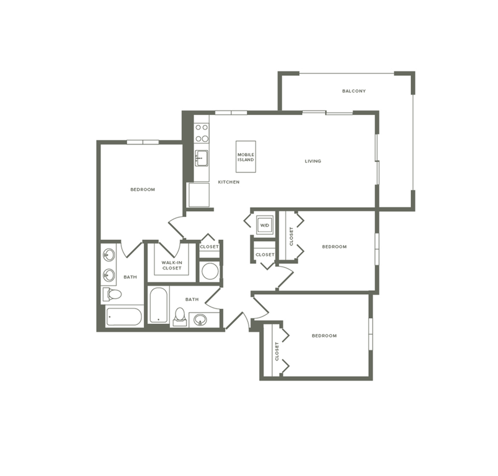 1176 square foot three bedroom two bath apartment floorplan image