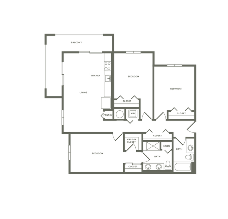 1328 square foot three bedroom two bath apartment floorplan image