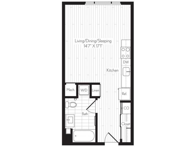 478 square foot studio one bath floor plan image