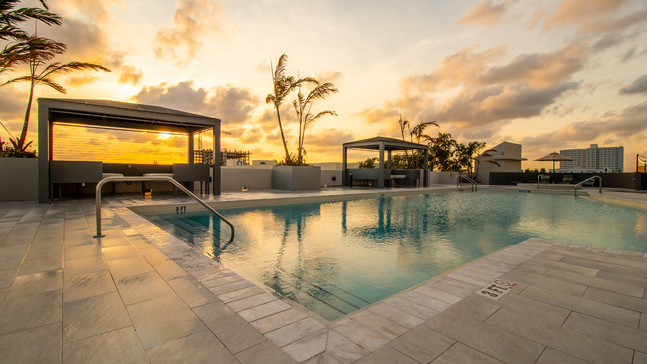 Modera Skylar | Sunset Over Pool Deck