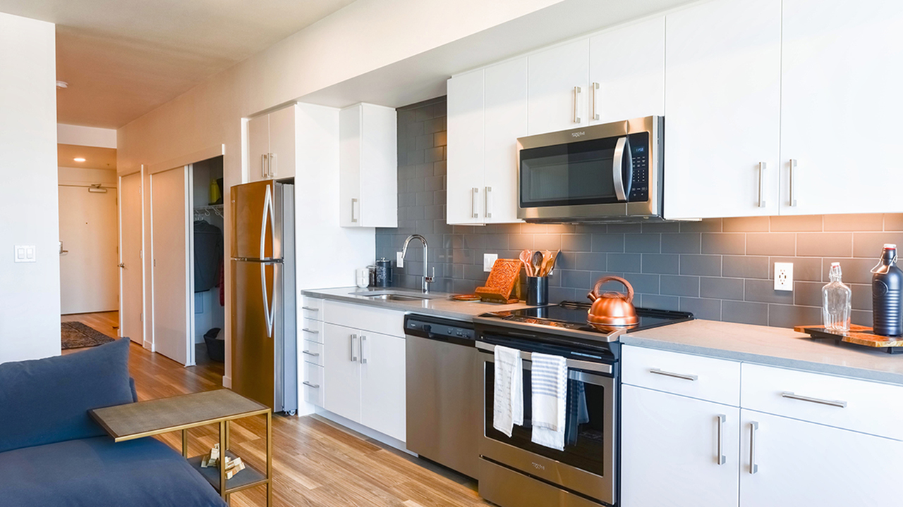 Galley kitchens with stainless steel appliances and gorgeous white cabinetry