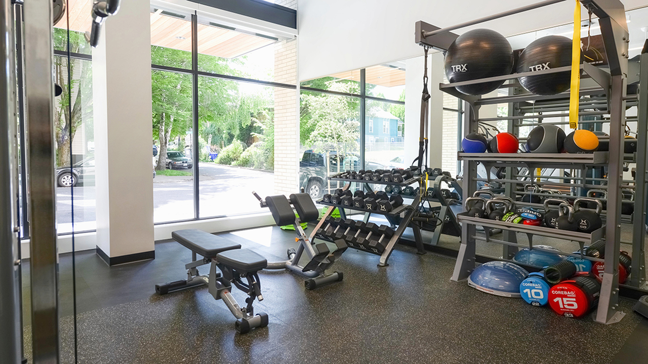 Fitness Center with free weights and TRX equipment