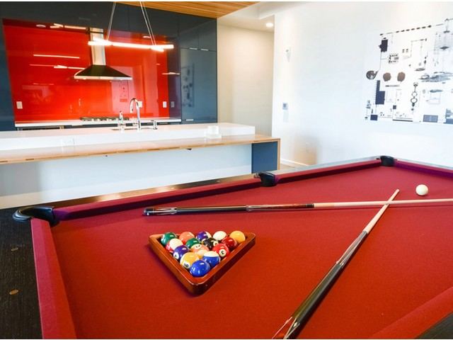 Billiards table and lounge space