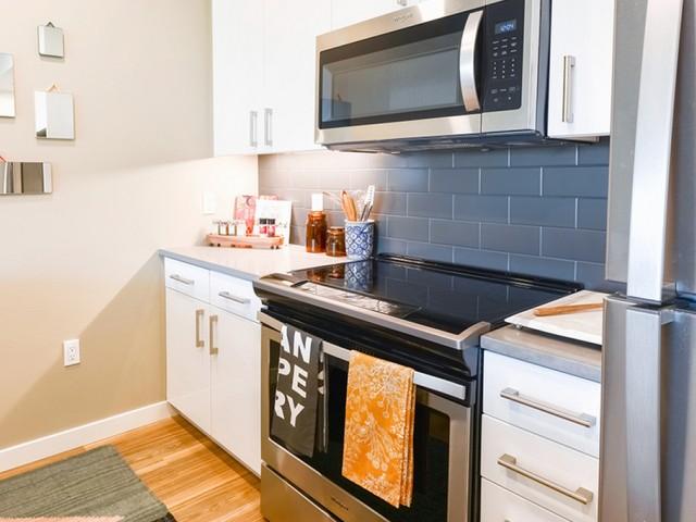 Tiled backsplash in kitchen