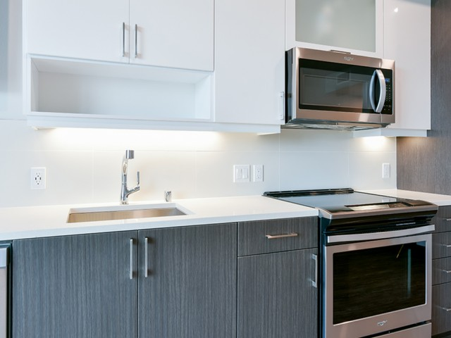 Quartz countertops and stainless steel appliances