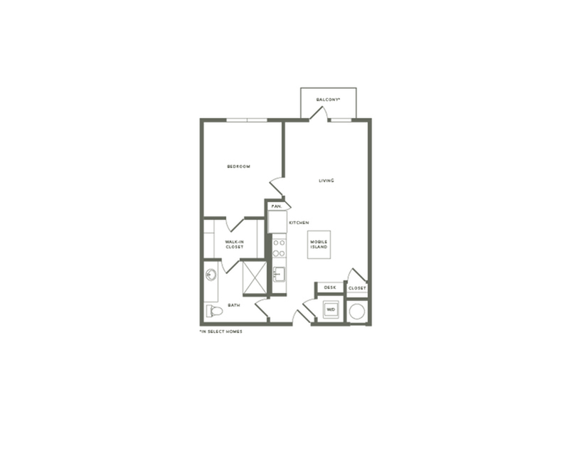 738 to 775 square foot one bedroom one bath apartment floorplan image