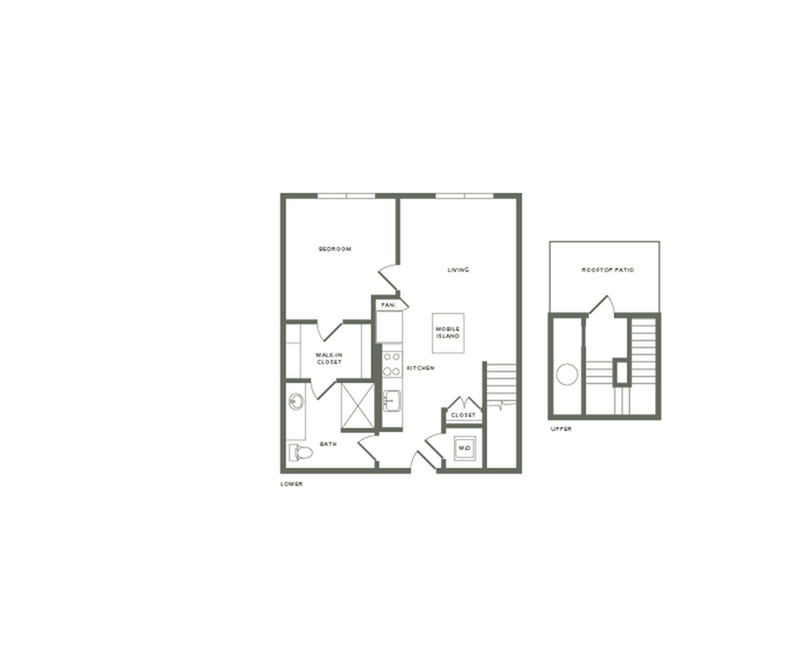 842 to 854 square foot one bedroom one bath with rooftop patio apartment floorplan image