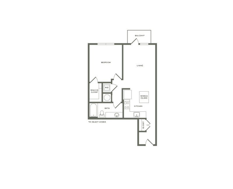 745 to 769 square foot one bedroom one bath with balcony apartment floorplan image