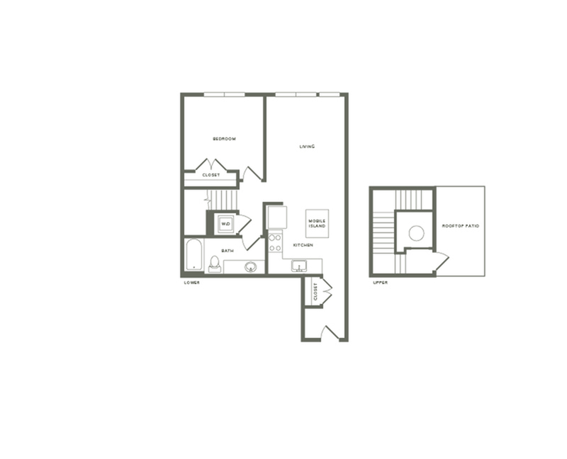 864 square foot one bedroom one bath with rooftop patio apartment floorplan image