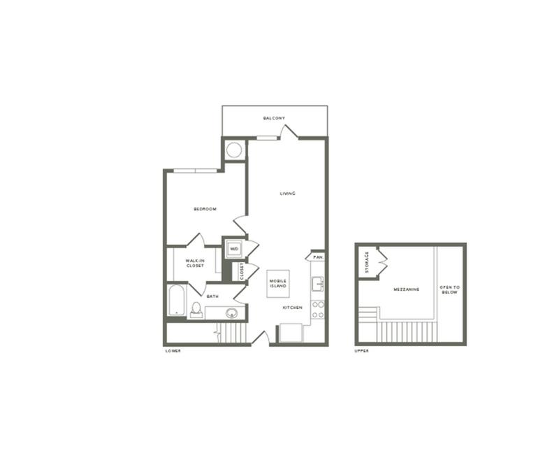 899 square foot one bedroom one bath with mezzanine apartment floorplan image