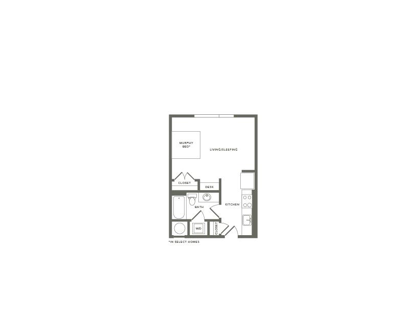 482 square foot studio one bath apartment floor plan image