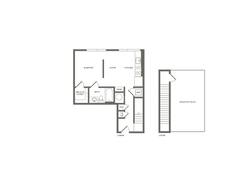 640 square foot studio one bath loft apartment floor plan image