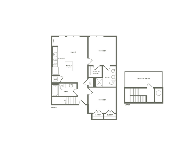 1103 square foot two bedroom two bath with rooftop patio apartment floorplan image