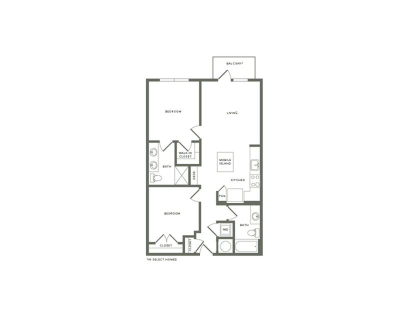 894 to 950 square foot two bedroom two bath apartment floorplan image