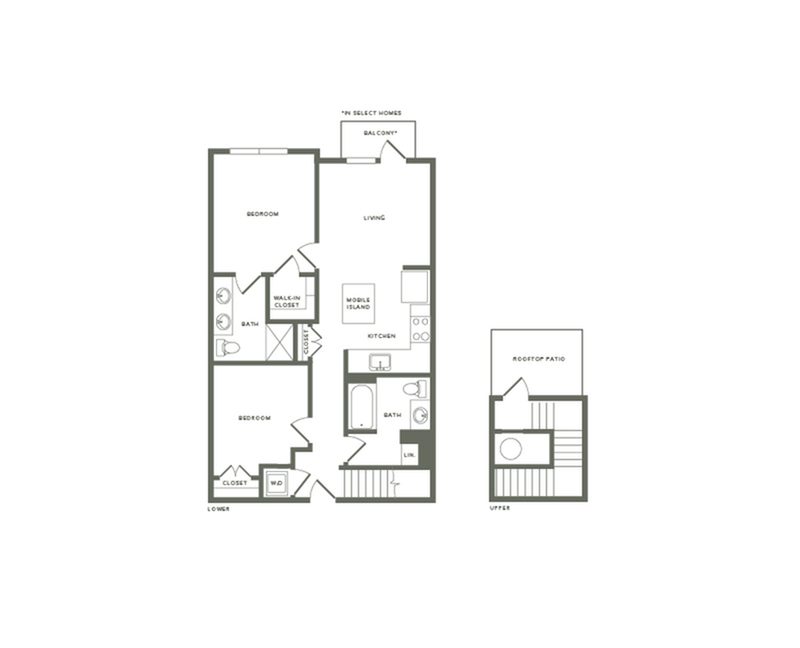 977 to 1021 square foot two bedroom two bath with rooftop patio apartment floorplan image