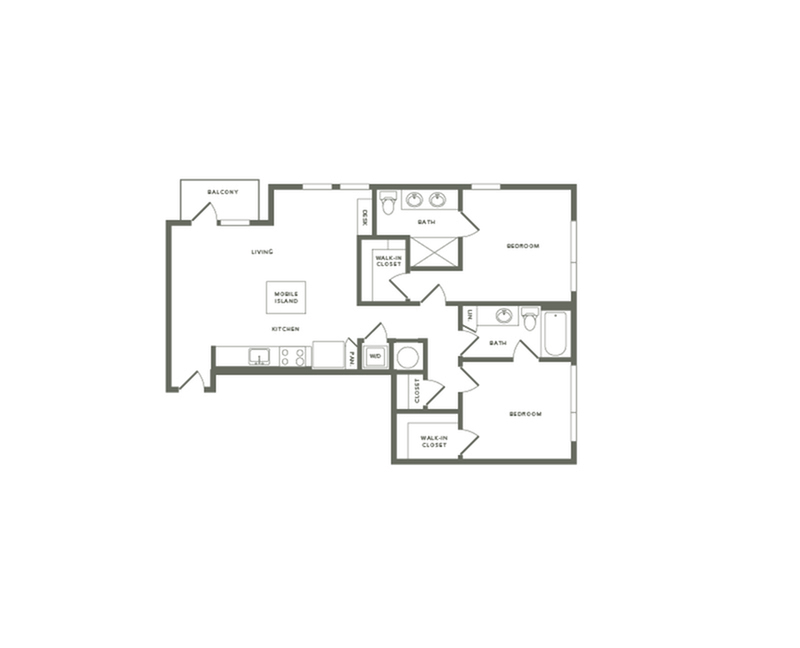 1050 square foot two bedroom two bath apartment floorplan image