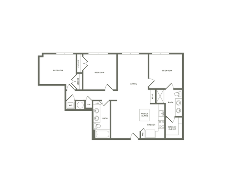 1338 square foot three bedroom two bath apartment floorplan image