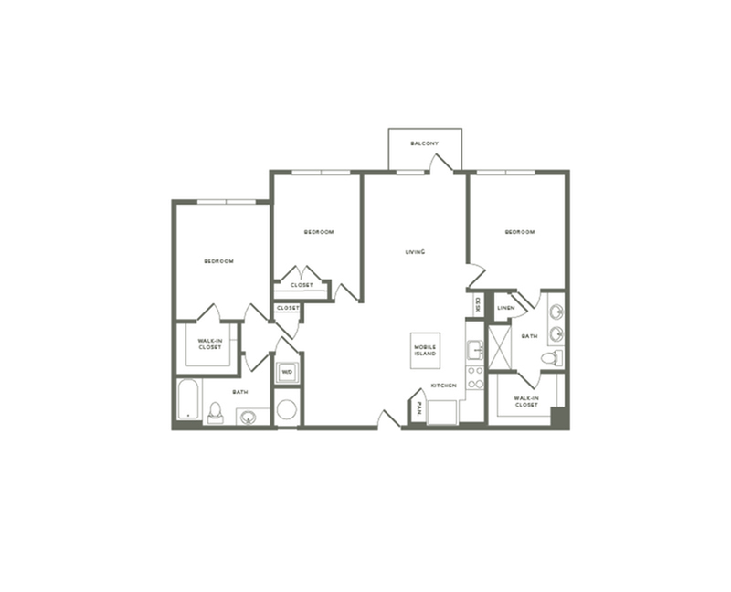 1358 to 1374 square foot three bedroom two bath apartment floorplan image