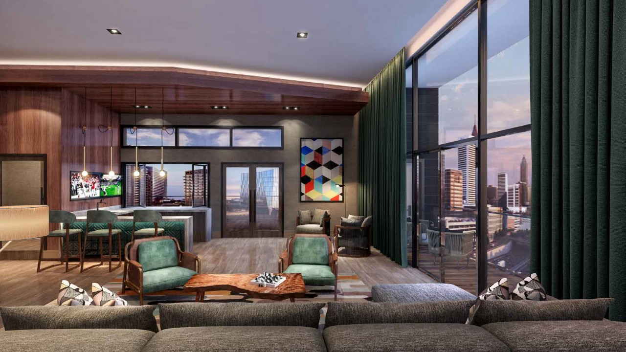 Sky lounge featuring floor to ceiling windows and social seating
