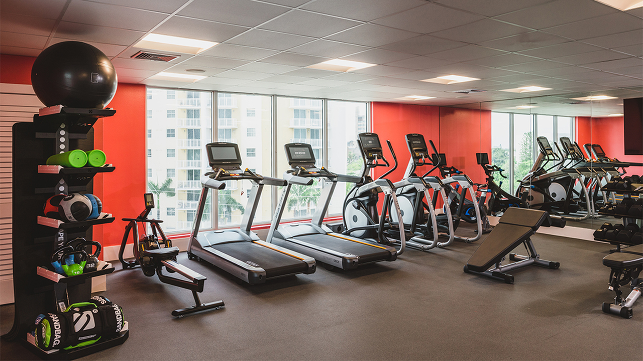 Renovated fitness center with cardio and weight machines