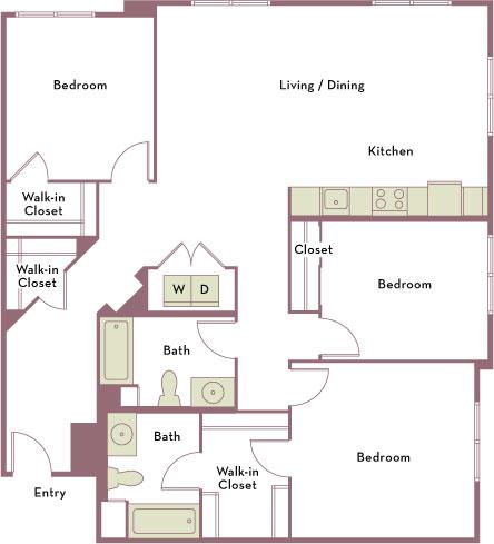 1,458 square foot three bedroom two bath apartment floorplan image