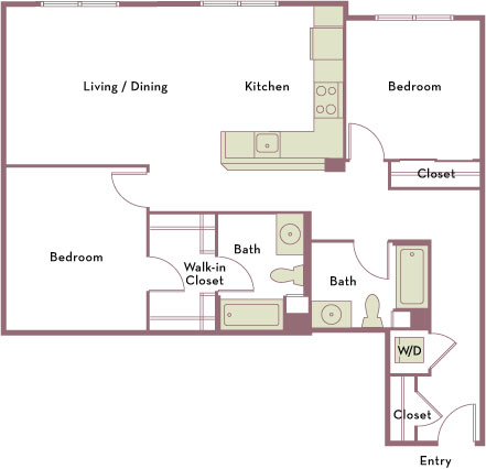 1,120 square foot two bedroom two bath apartment floorplan image