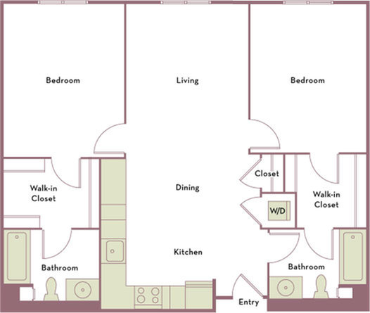 1,037 to 1,085 square foot two bedroom two bath apartment floorplan image
