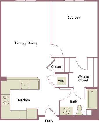 649 to 776 square foot one bedroom one bath apartment floorplan image