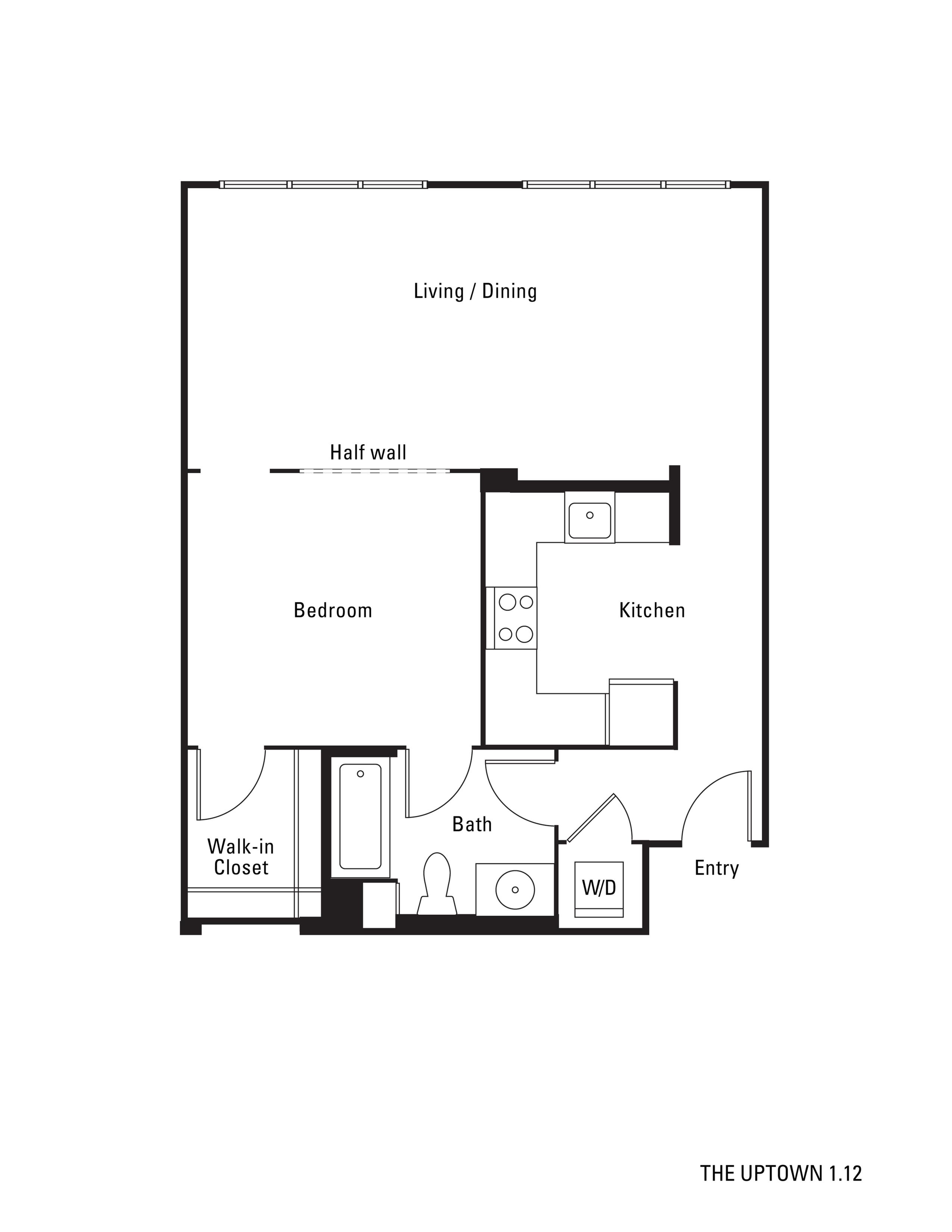 776 square foot studio one bath apartment floorplan image