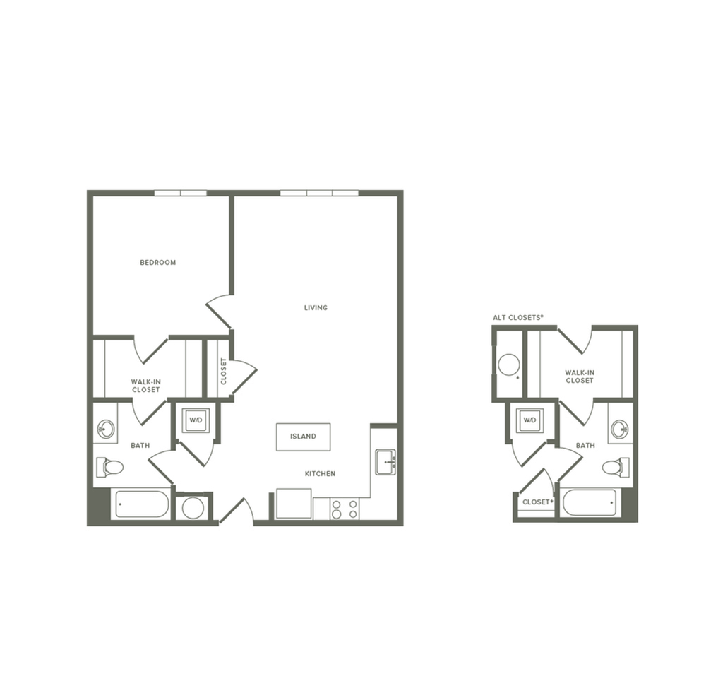 783 to 797 square foot one bedroom one bath apartment floorplan image