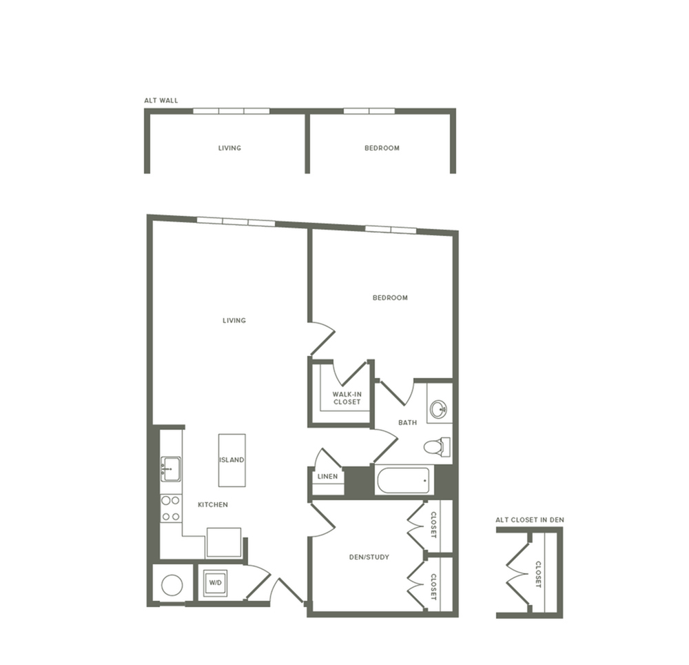 930 square foot one bedroom one bath with den apartment floorplan image