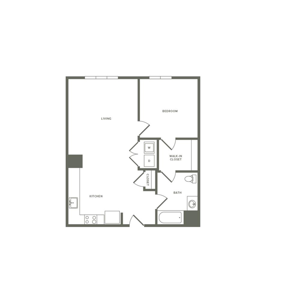 836 square foot one bedroom one bath apartment floorplan image
