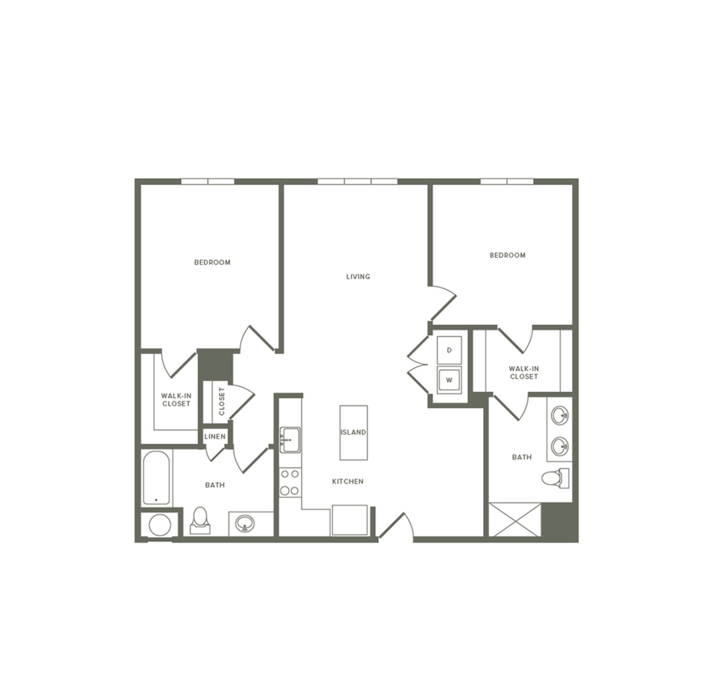 1161 square foot two bedroom two bath apartment floorplan image