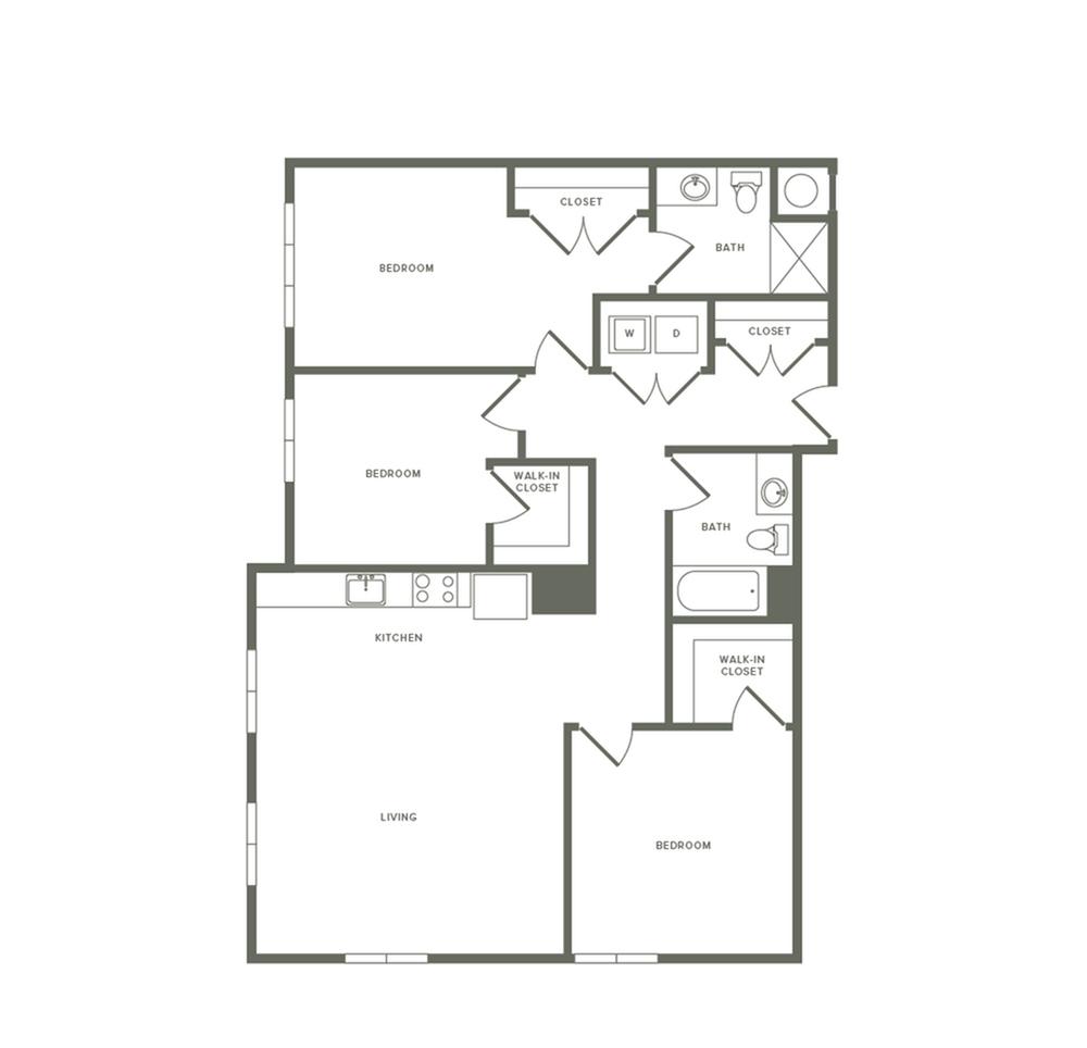 1366 square foot three bedroom two bath apartment floorplan image