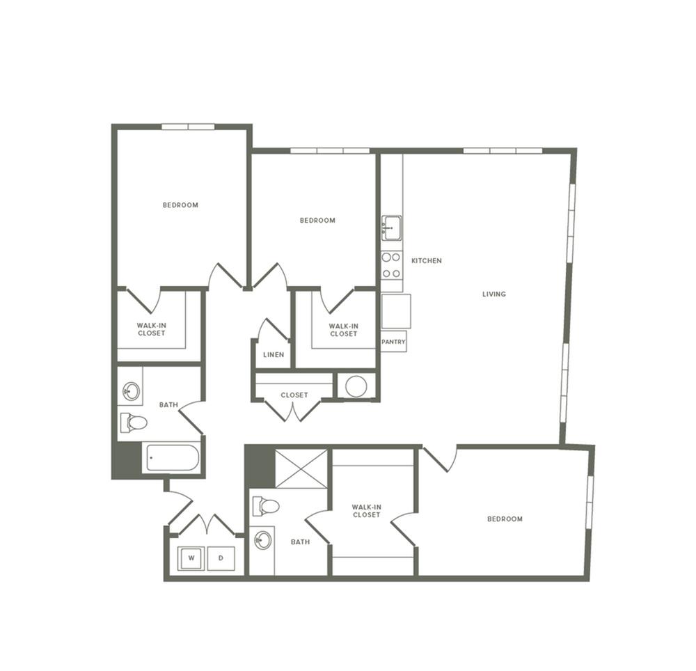 1504 square foot three bedroom two bath apartment floorplan image