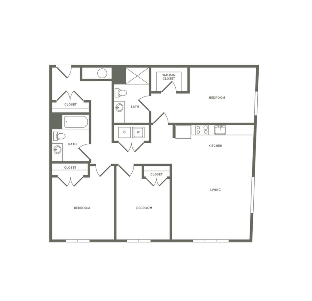 1361 square foot three bedroom two bath apartment floorplan image