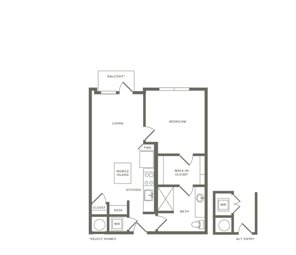 766 to 784 square foot one bedroom one bath apartment floorplan image