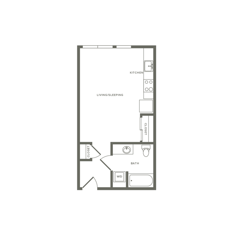 Studio ranging from 461 to 484 square feet one bath floor plan image