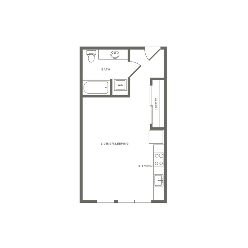 Studio ranging from 469 to 498 square feet one bath floor plan image