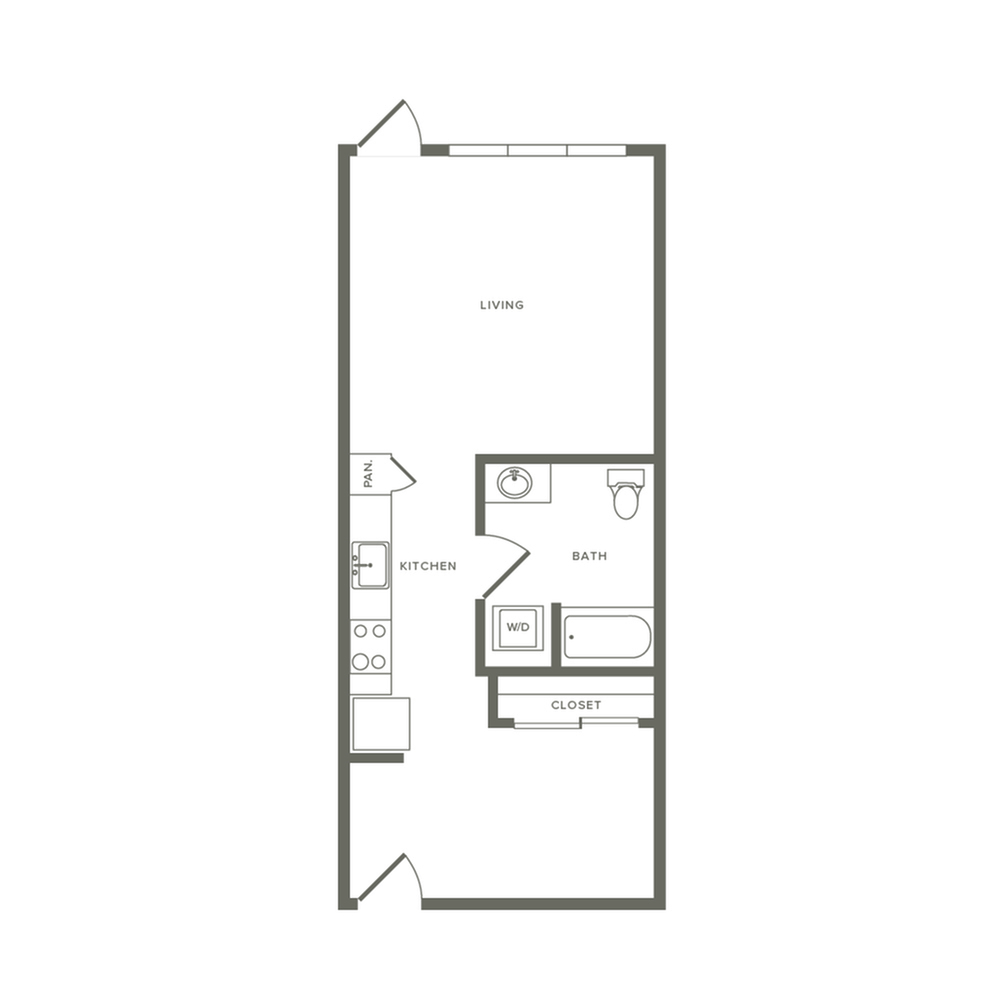 One bedroom ranging from 598 to 698  square feet one bath apartment floorplan image