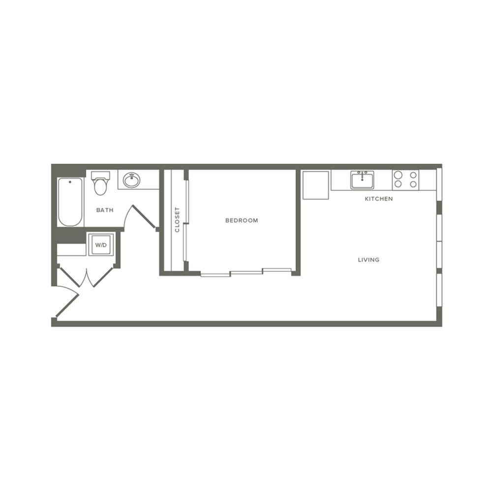 618 square foot one bedroom one bath apartment floorplan image